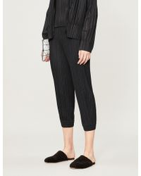 Pleats Please Issey Miyake - Cropped High-rise Skinny Pleated Trousers - Lyst