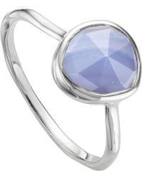 Monica Vinader - Siren Sterling Silver And Blue Lace Agate Medium Stacking Ring - Lyst