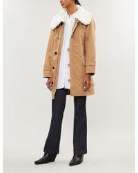 Claudie Pierlot - Faux-fur Trimmed Cotton-gabardine Coat - Lyst