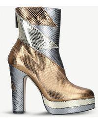 Terry De Havilland - Aria Metallic Snake-effect Leather Boots - Lyst