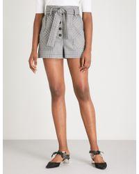 Maje - Raime High-rise Checked Woven Shorts - Lyst