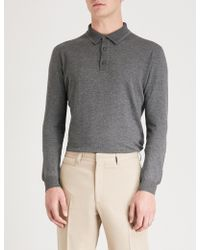 Corneliani - Polo Wool And Cotton-blend Jumper - Lyst