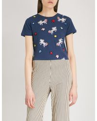 Alice + Olivia - Rylyn Unicorn-embroidered Cotton And Linen-blend T-shirt - Lyst