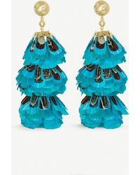 Kendra Scott - Lenni 14ct Gold-plated And Teal Feather Tassel Earrings - Lyst