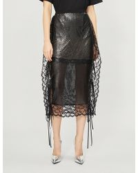Christopher Kane - Lace-trimmed Chainmail Midi Skirt - Lyst