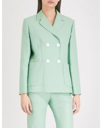 Sandro - Double-breasted Cotton-blend Jacket - Lyst