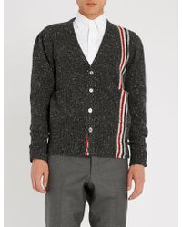Thom Browne - Stripe-intarsia Wool And Mohair-blend Cardigan - Lyst