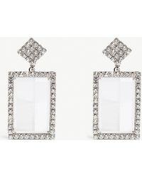 Alessandra Rich - Silver-toned Crystal Drop Earrings - Lyst