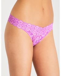 Hanky Panky - Cross-dyed Low-rise Stretch-lace Thong - Lyst