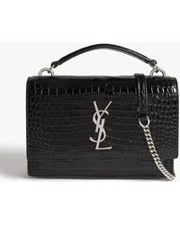 Saint Laurent - Sunset Croc-embossed Leather Shoulder Bag - Lyst