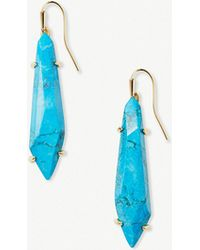 Kendra Scott - Grey 14ct Gold-plated And Aqua Howlite Stone Earrings - Lyst