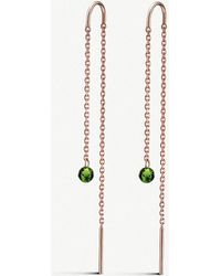 The Alkemistry - 18ct Rose-gold And Green Tourmaline Chain Earrings - Lyst