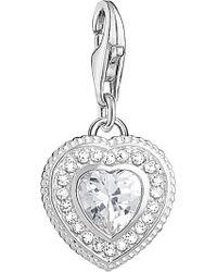 Thomas Sabo - Charm Club Sterling Silver Zirconia Stone Vintage Heart Charm - Lyst