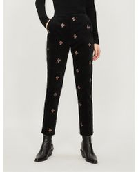 The Kooples - Embroidered Velvet Trousers - Lyst