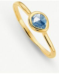 Monica Vinader - Siren 18ct Gold Vermeil And Kyanite Small Stacking Ring - Lyst