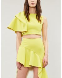 Maticevski - Ladies Chartreuse Yellow Flaunt Ruffled Crepe Top - Lyst