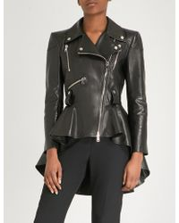 Alexander McQueen - Ruffled Peplum Leather Jacket - Lyst