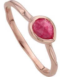Monica Vinader - Siren 18ct Rose Gold Vermeil And Pink Quartz Small Stacking Ring - Lyst