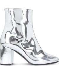 Balenciaga Ville Patent Leather Heeled Ankle Boots - Metallic