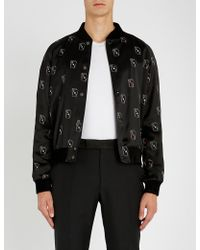 Saint Laurent - Playing Card-print Satin Bomber Jacket - Lyst