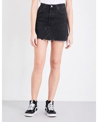 Ksubi Distressed Denim Skirt in Black | Lyst
