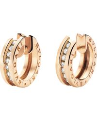 BVLGARI - B.zero1 18kt Pink-gold And Diamond Small Hoop Earrings - Lyst