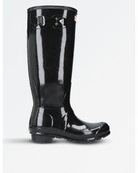 HUNTER - Patent High-leg Wellingtons - Lyst