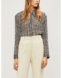 Theory - Weekender Geometric-print Devoré Shirt - Lyst