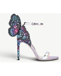 Sophia Webster - Chiara Embroidered Satin And Metallic Leather Sandals - Lyst