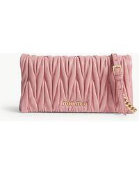 Miu Miu - Miu Rosa Pink Quilted Matelassé Leather Cross Body Bag - Lyst