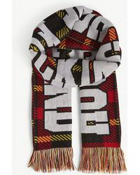 House of Holland - Logo Check Knitted Scarf - Lyst