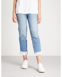 PAIGE - Sarah Ruffled High-rise Straight Jeans - Lyst