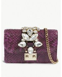 Gedebe - Violet Mini Clicky Python-skin Clutch Bag - Lyst