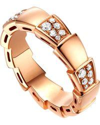 BVLGARI - Serpenti 18kt Rose-gold And Diamond Ring - Lyst