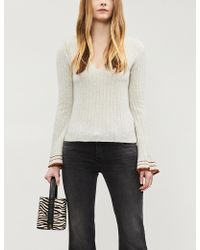 Free People - May Morning Striped Fluted Sleeve Ribbed Wool-blend Jumper - Lyst