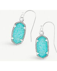 Kendra Scott - Lee Rhodium-plated Teal Drusy Stone Earrings - Lyst