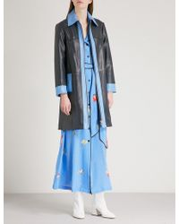 Ganni - Passion Contrast-panel Leather Coat - Lyst