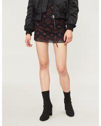 a8d2d4924 Pinko - Lavagna Geometric-pattern Woven Mini Skirt - Lyst