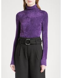 Mo&co. - Turtleneck Woven Top - Lyst