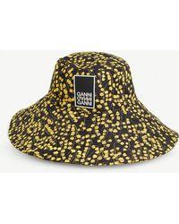 Ganni - Appliquéd Floral-print Shell Bucket Hat - Lyst