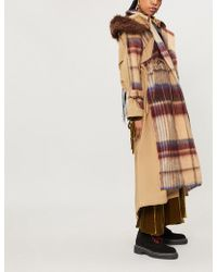 Sacai - Contrast Check-pattern Wool And Cotton-blend Trench Coat - Lyst