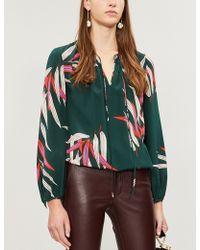 Diane von Furstenberg - Bird-print Silk-crepe Blouse - Lyst