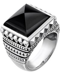 Thomas Sabo - Rebel At Heart Sterling Silver And Onyx Signet Ring - Lyst
