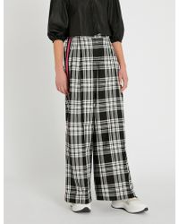 SERENA BUTE LONDON - Contrast-trim Checked Wide-leg Woven Trousers - Lyst