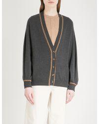 Brunello Cucinelli - Bead-embroidered Fine-knit Cashmere Cardigan - Lyst