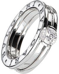 BVLGARI - B.zero1 18ct White-gold And Diamond Solitaire Ring - Lyst