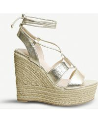 Office - Hula Hula Gold Tie Up Espadrille Wedges - Lyst