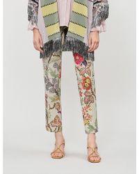 Etro - Violante High-rise Floral-print Brocade Straight-leg Trousers - Lyst