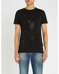 Philipp Plein - Playboy Crystal-embellished Cotton-jersey T-shirt - Lyst