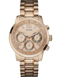 Guess - W0330l2 Sunrise Rose Gold-toned Stainless Steel Watch - Lyst
